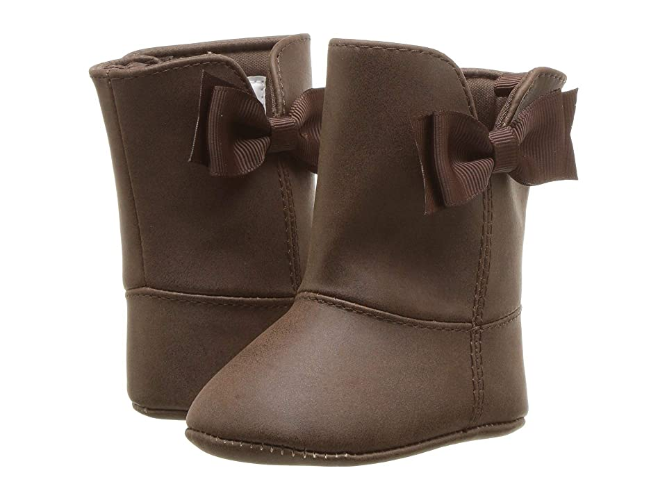 Baby Deer Soft Sole Shimmer Boot with Side Bow (Infant) (Chocolate) Girls Shoes