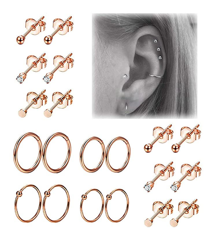 REVOLIA 10Pairs Stainless Steel Cartilage Earrings for Men Women Stud Earrings Ball CZ Tragus Helix Piercing