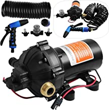 Happybuy RV Water Pump 5.3 GPM 5.5 Gallons Per Minute 12V Water Pump Automatic 70 PSI Diaphragm Pump with 25 Foot Coiled Hose Washdown Pumps for Boats Caravan Rv Marine Yacht