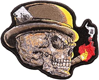 Cigar Skull Embroidered iron on Sew on Patch