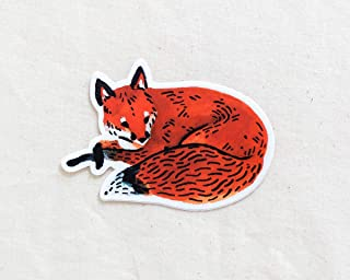 Red Fox Animal Sticker - Waterproof Vinyl Sticker - Adventure Sticker - Camping and Hiking Gear - Water Bottle Decal - Car Decal