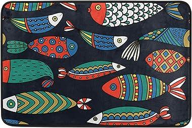 Mydaily Colorful Fishes Doormat 15.7 x 23.6 inch, Living Room Bedroom Kitchen Bathroom Decorative Lightweight Foam Printed Ru