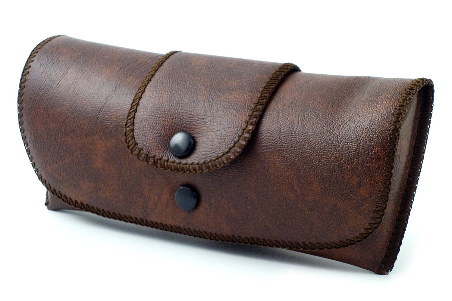 Soft Eyeglass Case Faux Leather Attaches to Belt Horizontal Brown 6.5