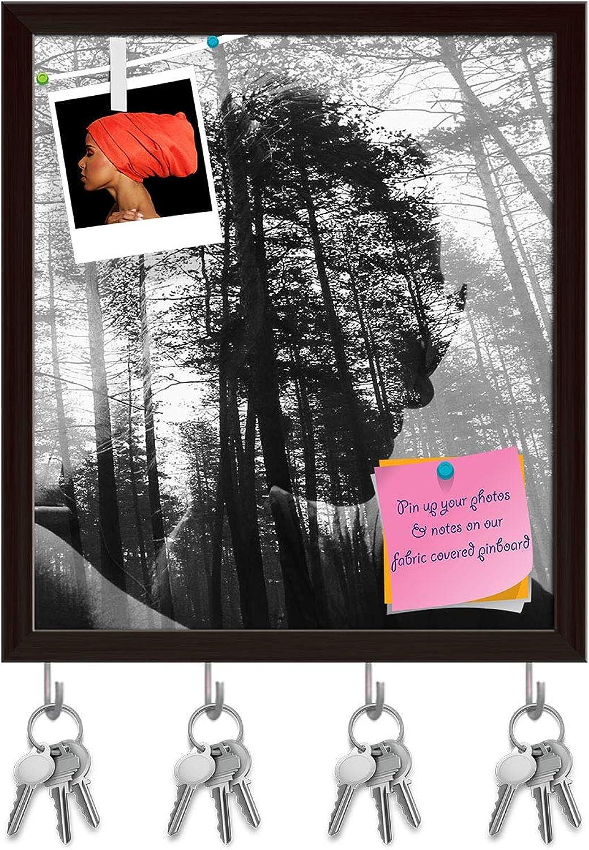 Artzfolio Deep Forest Key Holder Hooks   Notice Pin Board   Dark Brown Frame 16 X 18.2Inch