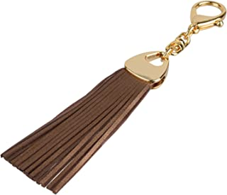 Richbud Leather Water Drop Tassel Keychain Handbag Charm Keyring Fob (Bronze)