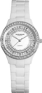 Akribos Women's Crystal Embellished Ceramic Watch - Sparkling Glitter Outer Dial On Ceramic Bracelet - AK509