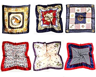 QUUPY 6 Pcs Modern Print Silk Scarf Neck Scarf Choker Scarves Bag Band Multifunctional Headwrap Decoration Waistband Belt Bracelet Headband Ponytailer Hair Accessries for Girl Woman