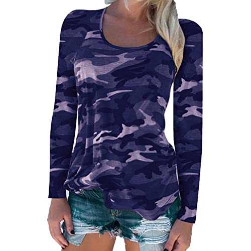 7c088c4f4 Moon Angle Womens Long Sleeve T-Shirts Casual Camouflage Printed O-Neck  Tops Plus
