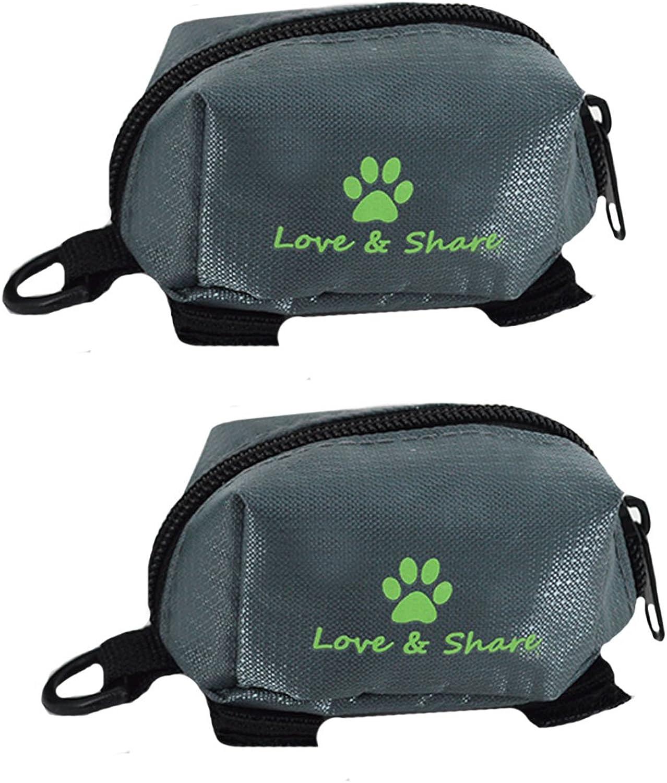 Budd Pets Dog Poop Bag Holder, 2 Pieces Oxford Fabric Waste Bag Dispenser Pickup Bag Zippered Pouch (Grey)