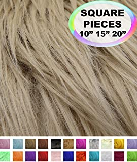 Barcelonetta | Faux Fur Squares | Shaggy Fur Fabric Cuts, Patches | Craft, Costume, Camera Floor & Decoration (Beige, 10