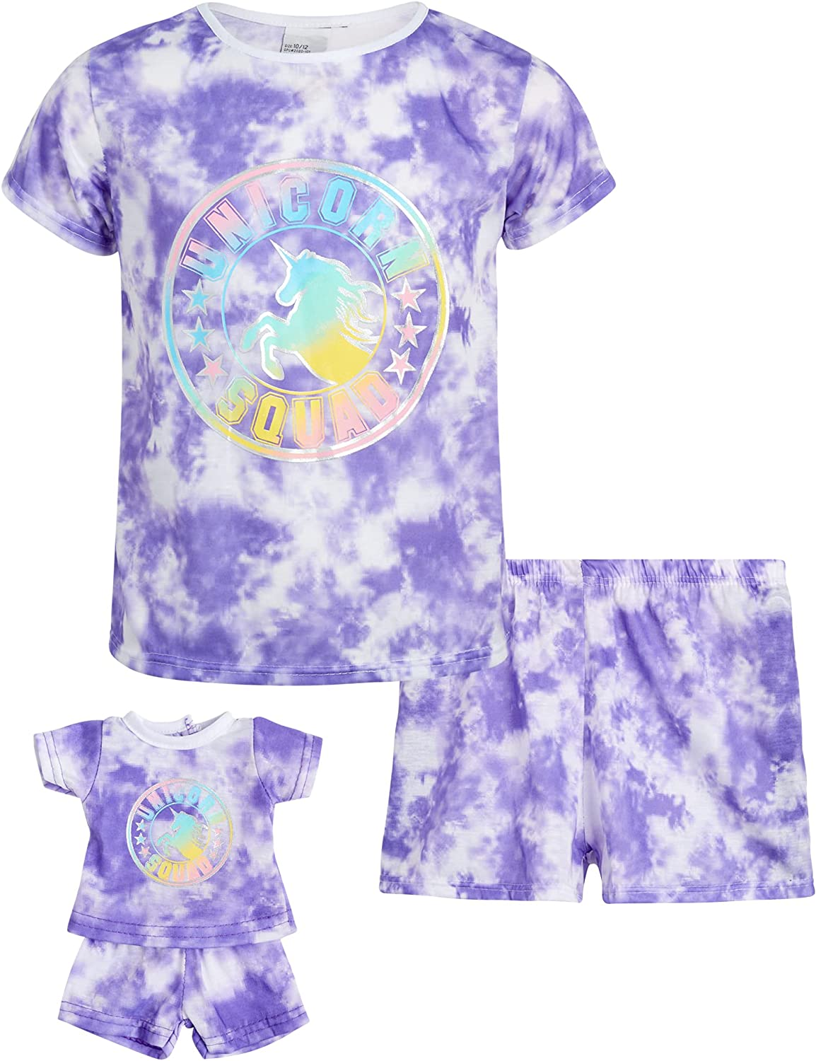 BFF & Me Girls' Pajama Set - 2 Piece T-Shirt and Sleep Shorts with Matching Doll Nightgown, Size S(6/6X), Purple Tie Dye Squad