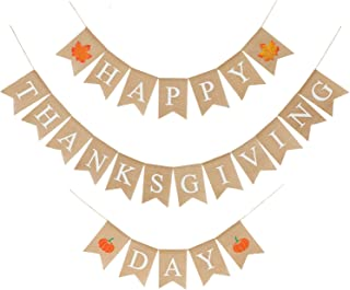3 Pieces Happy Thanksgiving Day Banner Rustic Bunting Garland with Maple Leaf and Pumpkin Patterns for Thanksgiving Home Decoration Supplies