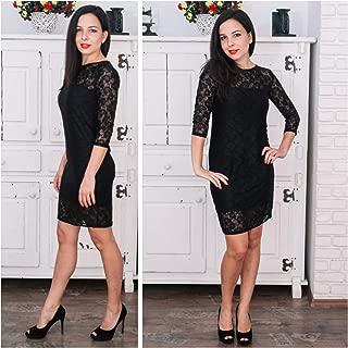 Elegantes Damenkleid mit Spitze in Schwarz, Bodycon-Kleid über dem Knie, Partykleid in den Größen M, L, XL