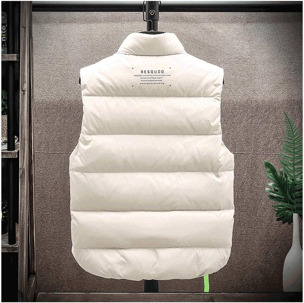 Fashion Vest Lightweight Winter Vest for Men Soft Shell Down Vest to Keep Warm Windproof Sleeveless Men's Casual Vest S-5XL/5-Color (Color : White, Size : Large)