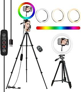 10'' RGB Aro De Luz con Tripode, COOLHOOD Ring Light con Control Bluetooth, TríPode Resistente Ajustable Anillo de Luz, 18...