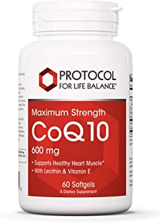 Protocol For Life Balance - CoQ10 600 mg (Maximum Strength) - Lecithin and Vitamin E to Support Heart, Cardiovascular and ...