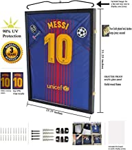 Jersey Display Frame Case Large Frames Shadow Box Lockable with UV Protection for Baseball Basketball Football Soccer Hockey Sport Shirt Black Finish