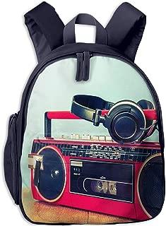Kids School Backpack for Boys Girls, Perfect Fit Elementary School Teenage Junior Middle School Bookbag Student Stylish Travel Laptop Book Bag Retro Ghetto Blaster Cassette