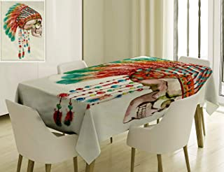 Unique Custom Cotton And Linen Blend Tablecloth 7 Original Feather House Decor Primitive Hippie With South Western Dove Eagle Hawk Raven FeaTablecovers For Rectangle Tables, Small Size 48 x 24 Inches