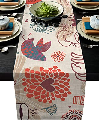 Parties 14 x 70 inch Daily Use Alishomtll Happy Easter Table Runner Rabbit and Easter Eggs Table Runner Watercolor Colorful Table Runner for Easter