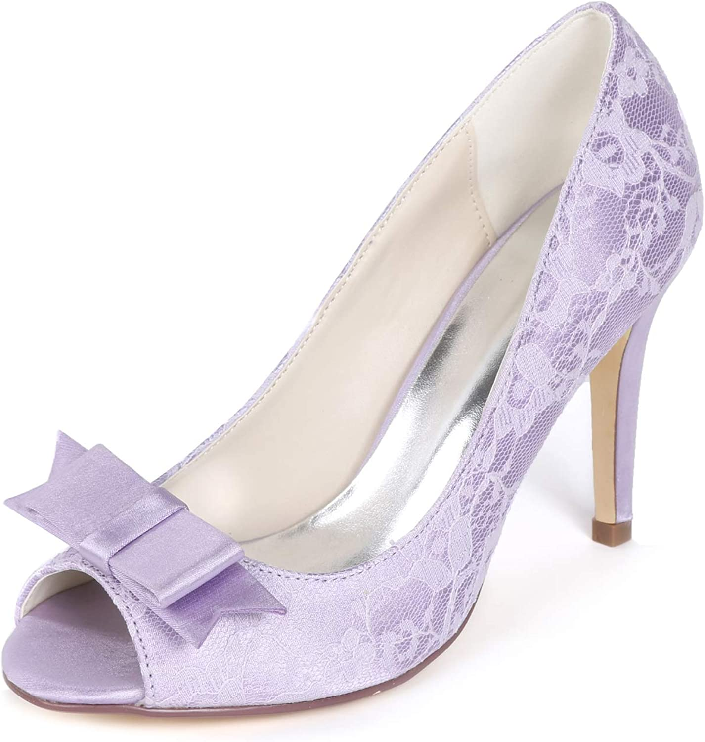 Creativesugar Women's lace Heels, Open Toe with Bow Sweet Wedding shoes, Bridal Bridesmaid Dress Prom Pumps Lavender