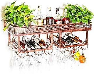 AMAFS Armoire à vin Organisation de Rangement de Cuisine Casiers à vin muraux   Support Mural Vintage en métal pour Boutei...