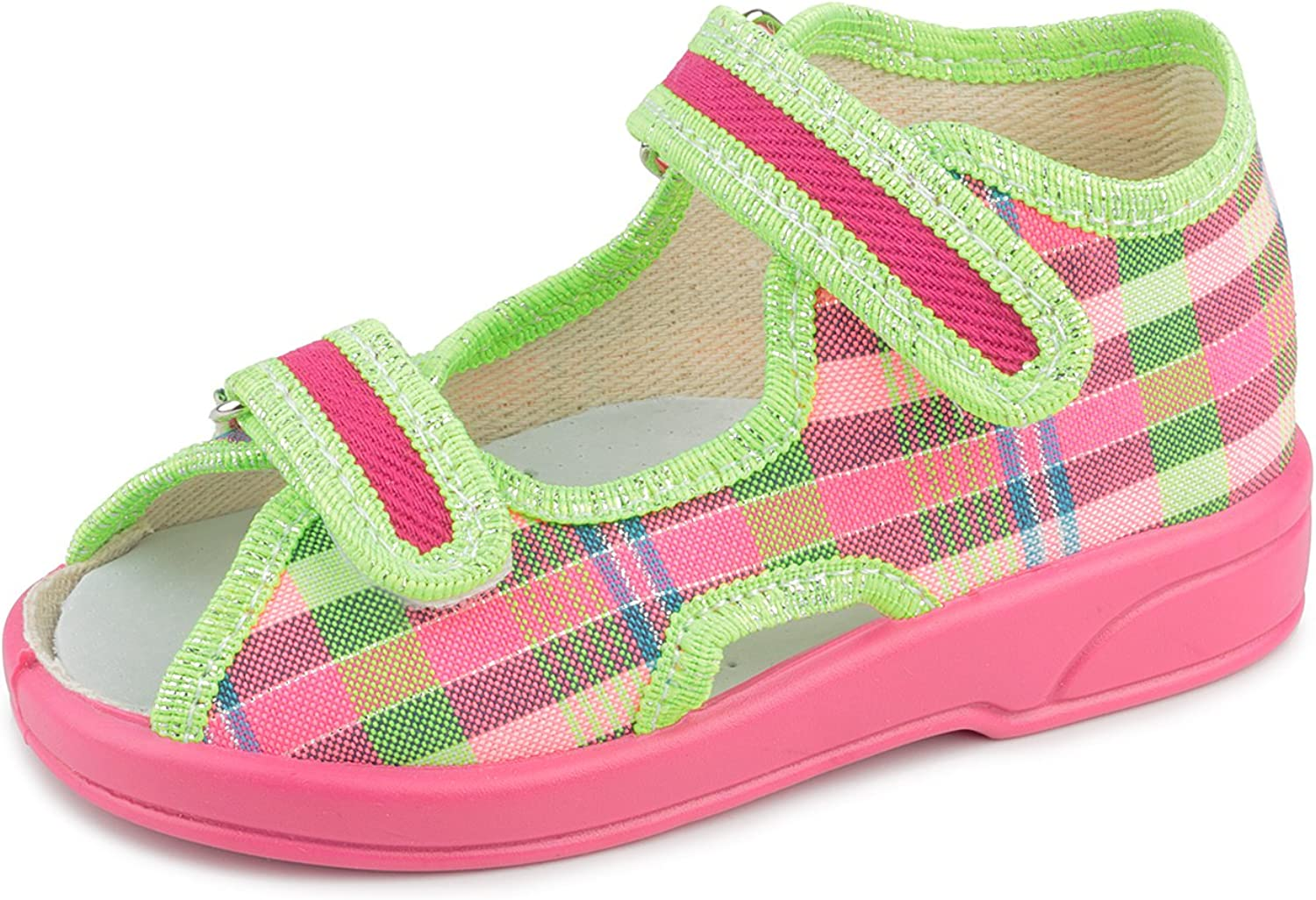 Zetpol Oliwia 2083 Pink Green Glow Checkerd Hook-and-Loop Toddler Girls' Natural Canvas Sandal