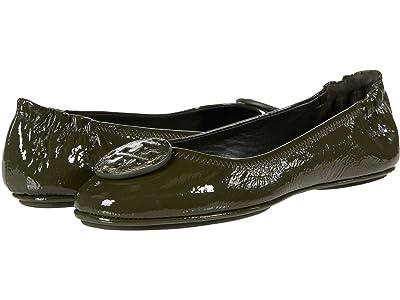 Tory Burch Minnie Travel Ballet w/ Leather Logo (Militare Green/Militare Green Patent) Women