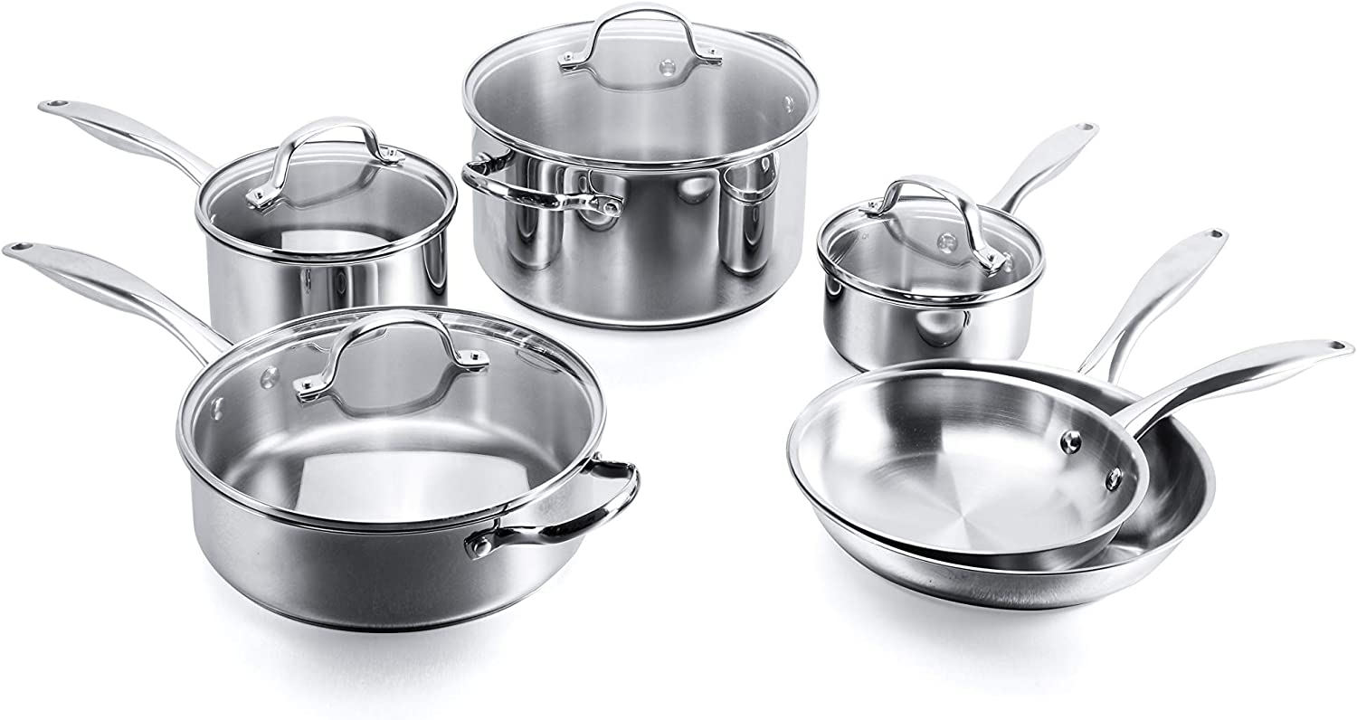 "Stovetop Pro Stainless Steel 10 Piece Set – Includes  6 Qt Stockpot w Lid, 3.5 Qt Sauté w Lid, 1 Qt and 2 Qt saucepans w Lids, and 8"" and 10"" frypans - Dishwasher and Oven Safe and Induction Capable"