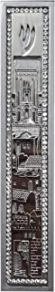 ateret yudaica Wood MEZUZAH CASE with Jerusalem Wall Plaque and Stones - for 5