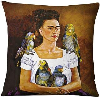 Adecuado para almohada Frida Kahlo, pintora mexicana mujer autorretrato funda de cojín de lino de algodón, funda de cojín de coche, cojín decorativo de sofá 45x45 CM