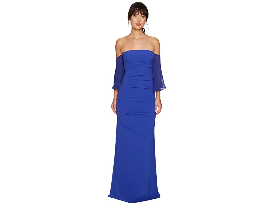 Nicole Miller Techy Crepe Pleated Sleeves Gown (Blueberry) Women