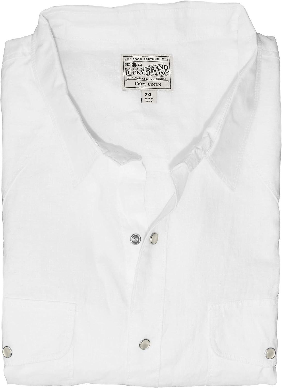 Lucky Brand Men's Big & Tall Linen Pearl Snap Western Shirt