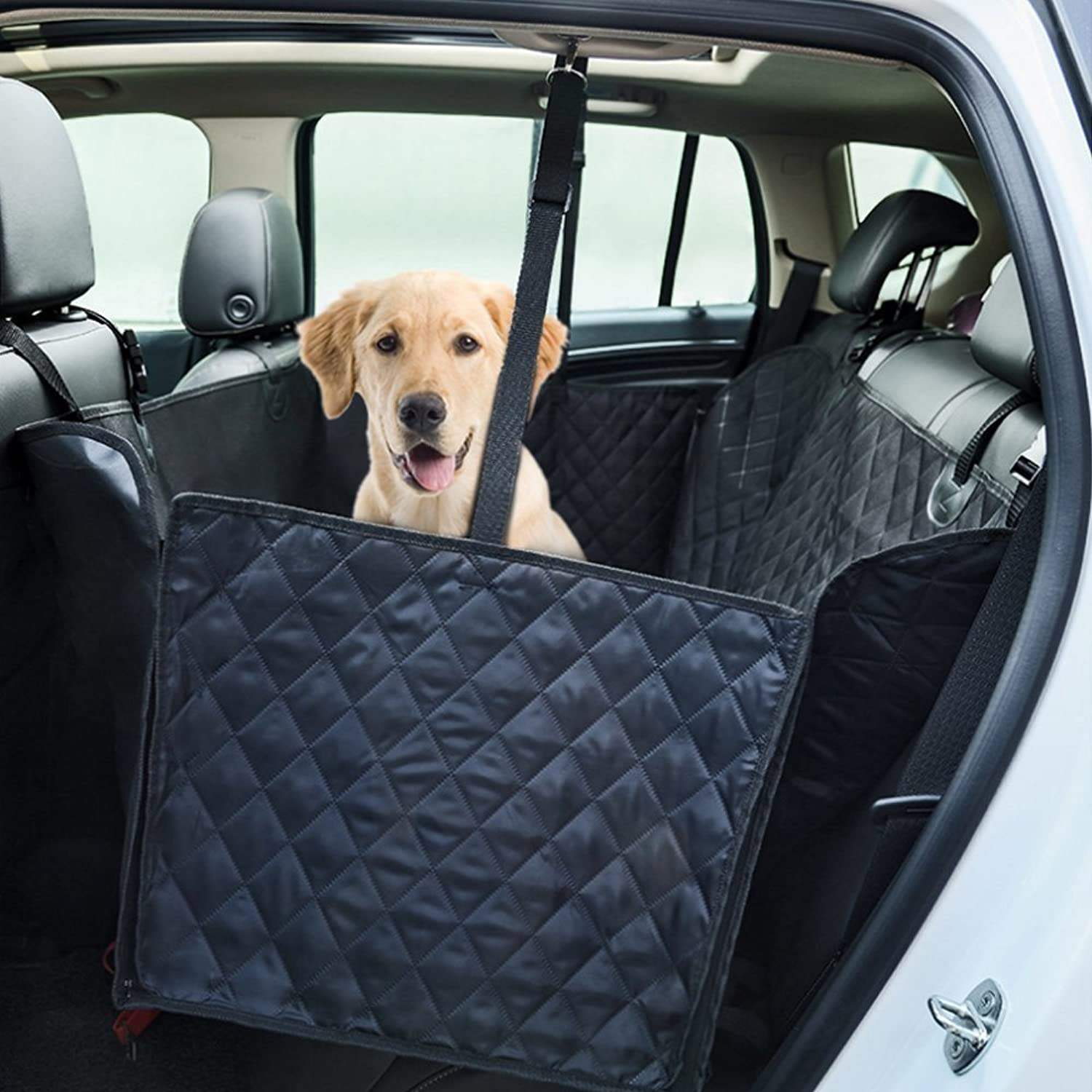 GEMEK Dog Seat Cover Car Seat Cover Pets Hammock Congreenible, Waterproof & Side Flaps Scratch Proof Nonslip Durable Soft Pet Back Seat Covers Cars Trucks SUVs (Back Seat Cover Zip)