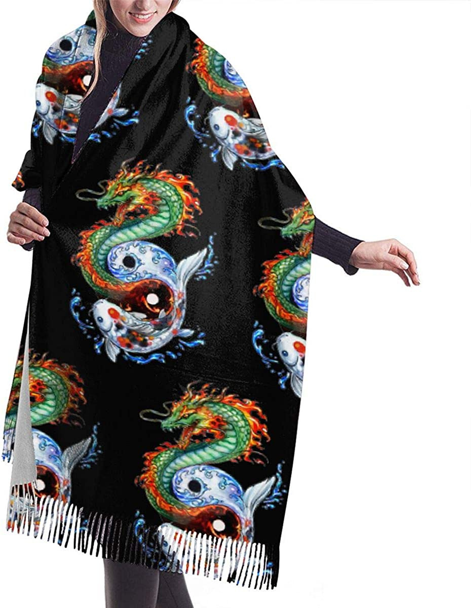 Women Scarf for Winter, Cashmere Feel, Cozy Warm for Winter, TAI CHI Dragons Of The Orient