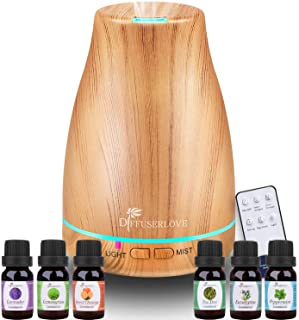 Diffuserlove Essential Oil Diffuser 200ML Ultrasonic Wood Grain Aroma Diffuser Mist Humidifiers with 7 Color LED Lights an...