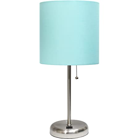 Limelights Lt2024 Aqu Stick Lamp With Charging Outlet And Fabric Shade Aqua Amazon Com