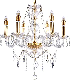 New Legend Lighting 6-Light Classic Style Gold Finish Crystal Chandelier Pendant Hanging Ceiling Lighting, 22