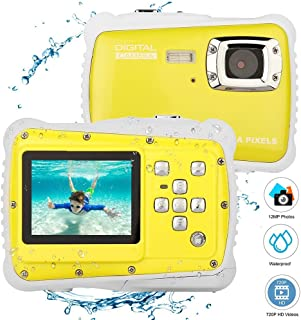 Elegantamazing - Cámara de vídeo Digital para niños (12 MP Pantalla LCD de 2 Pulgadas Sumergible hasta 3 m) Pantalla de 2.0 Color Amarillo