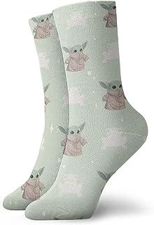 LREFON, Calcetines de compresión Baby Yo-da Cute Socks Crew Divertido Casual Unisex Impresión Tobillo Deporte Calcetín