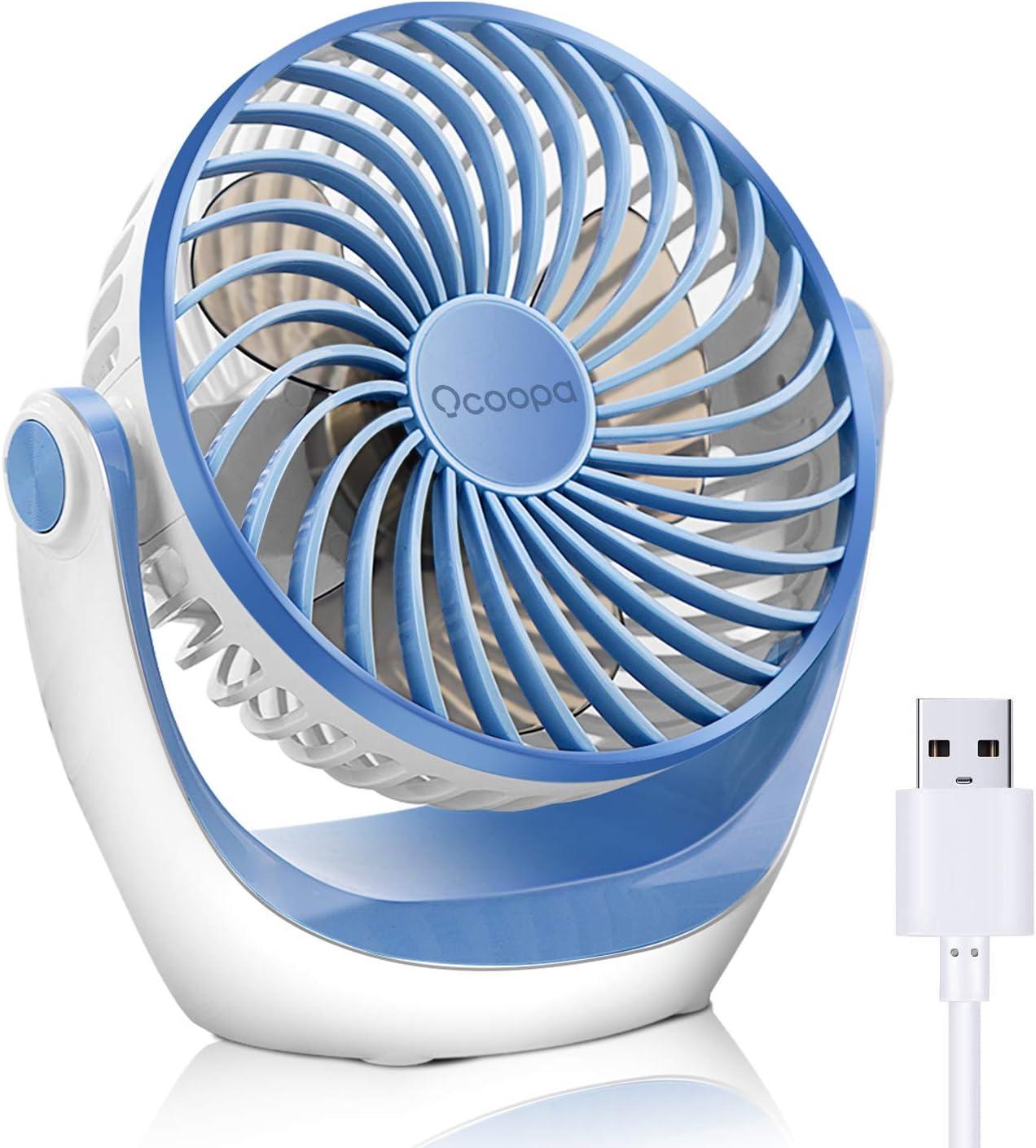 OCOOPA Ventilador con USB, Ventilador de mesa con fuerte flujo de aire y silencioso, ventilador portátil con velocidad ajustable, 360°, Escritorio y escritorio de oficina, Azul claro