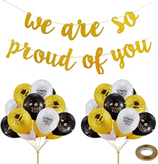 Graduation Party Decorations Supplies 2019 - We are So Proud of You Banner with 24 Pcs 2019 Graduation Party Balloons - Graduation Decorations for Class of 2019 (Black White Gold)