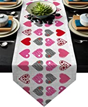Valentine's Day Doodle Arts Holiday Table Runners Romantic Love Heart Table Cloths Cover Cotton Linen Tablecloth Washable ...