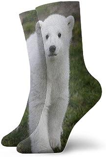 Calcetines Deportivos Oso Polar Blanco Calcetín atlético Lindo Cojín Elegante Anti Olor Bota Corta Media