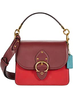 코치 숄더백 COACH Coated Canvas Signature Gusset Beat Shoulder Bag 18,Tan/Electric Red Multi