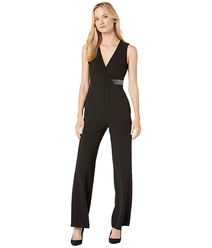 Donna Morgan  Stretch Crepe Sleeveless Faux Wrap with Crystal Detail Jumpsuit (Black) Womens Jumpsuit and Rompers One Piece