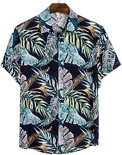 Camisa de Playa de Calidad Camisa Hawaiana de Manga Corta para Hombre Blusa Informal de Verano con Estampado Floral para H...