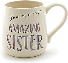 "Enesco Our Name Is Mud ""Amazing Sister"" Stoneware Engraved Coffee Mug, 16 oz, Purple"