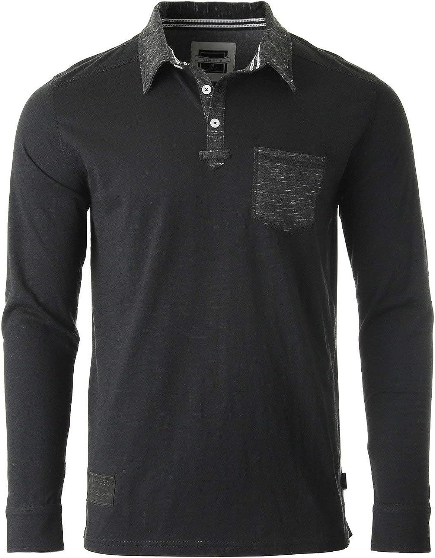 ZIMEGO Men's Casual Long Sleeve Vintage Retro Color Dyed Pocket Polo Shirts