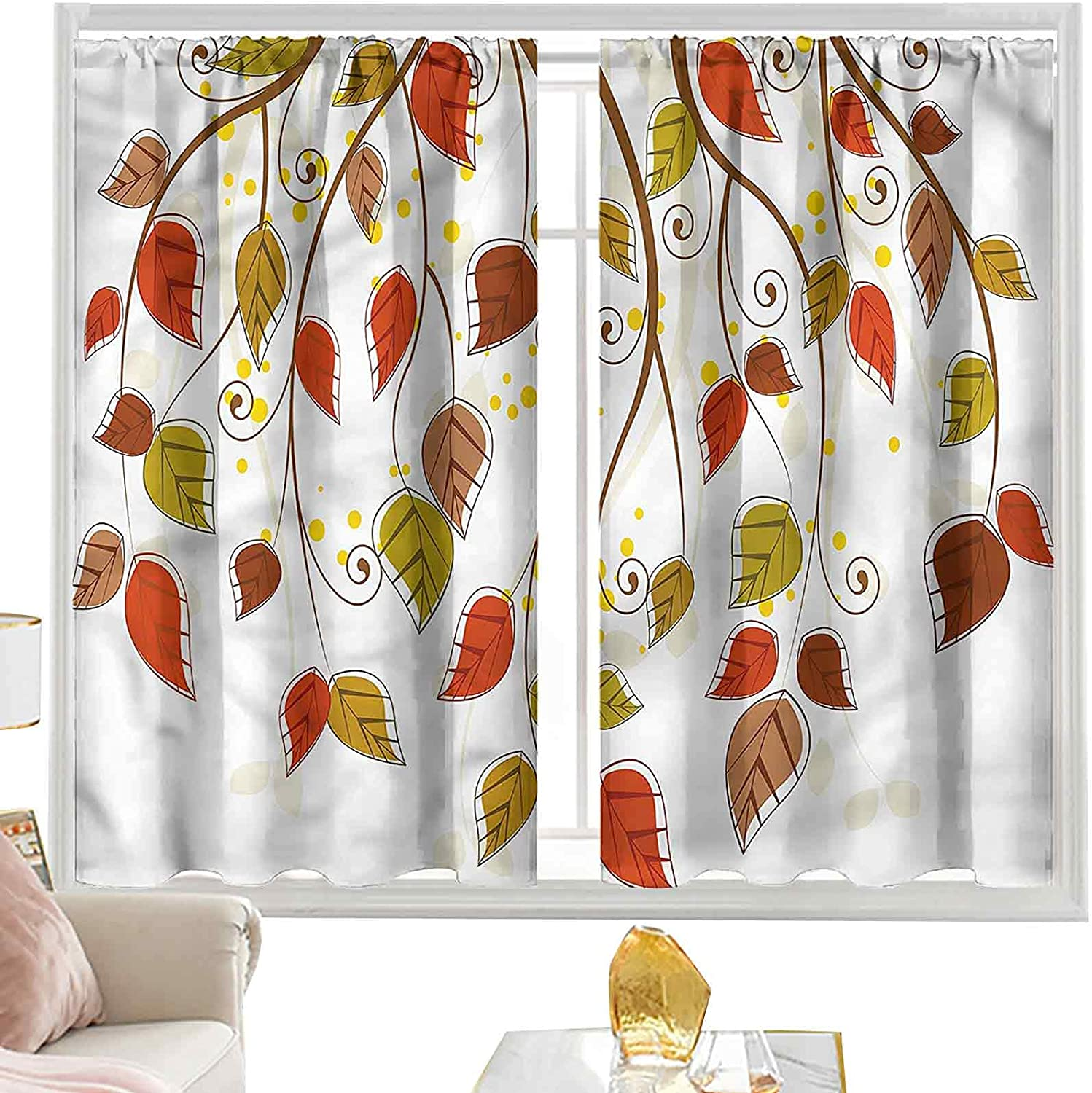 Light Blocking Curtains Autumn Branches Leaves L54 In New product type Fall x W52 Max 50% OFF
